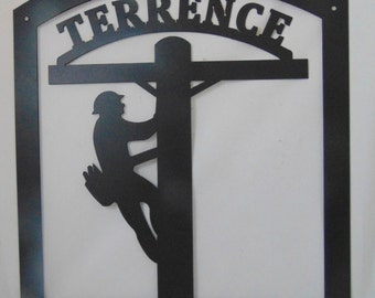 Lineman Metal Sign, Customize with Name and Paint Color