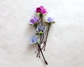 Plum Paper Flower Hair Pins. Handmade Wire Wrapped Paperie Floral Rose Bobby Pin Hair Accessories. Grey, Raspberry & Wisteria Wedding.