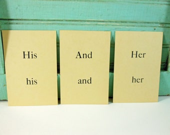 Vintage Picture Sentence Word Flashcards 1958 Set of 3 His And Her