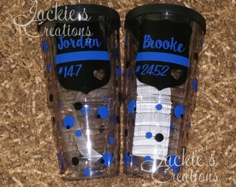 Personalized Police Officer Badge- Thin Blue Line- Double-Wall Insulated Travel Tumbler Cup