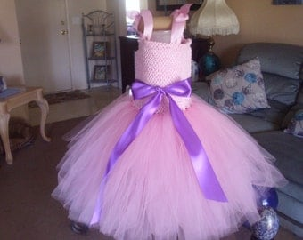 Pink and Purple or any color Flower Girl Tutu Dress