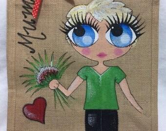 Handpainted Personalised Best Gran Grandma Nana Jute Handbag Gift Bag Hen Party Celebrity Style