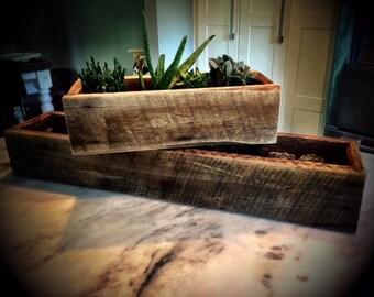 Rustic Wood Planter Box (Monogram option for Wedding Center Piece, Planter Box, etc) - Large Size
