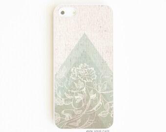 iPhone 5 Case. IPhone 5S Case. Wood Grain Geometric Summer Floral. Phone Case. iPhone Case. Case for iPhone 5.