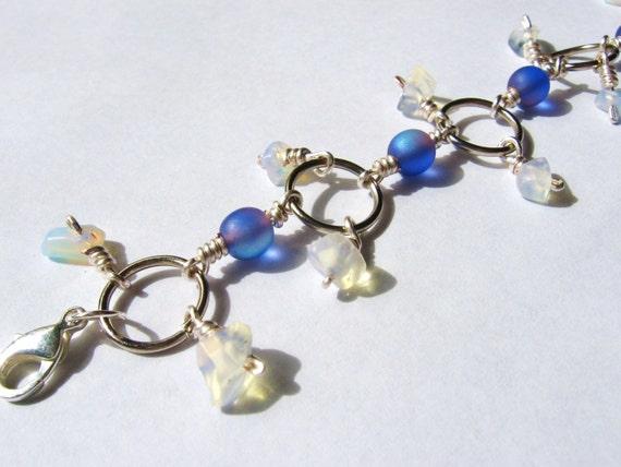 Iridescent Indigo and Moonstone Charm Bracelet in Silver