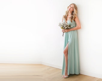 Mint straps wrap dress, Mint bridesmaids dress with a slit