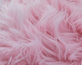 MoHair 60 Inch Faux Fur Baby Pink Fabric by the Yard, 1 yard