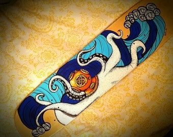 Custom hand painted skateboard deck-Made to order-Nautical- octopus-skateboard-deck-skateboard art