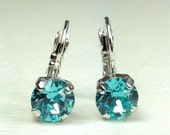 Swarovski Crystal 8.5mm Lever- Back Drop Earrings - Classy - Lt.Turquoise  OR  Choose Your Favorite Color and Finish -  FREE SHIPPING