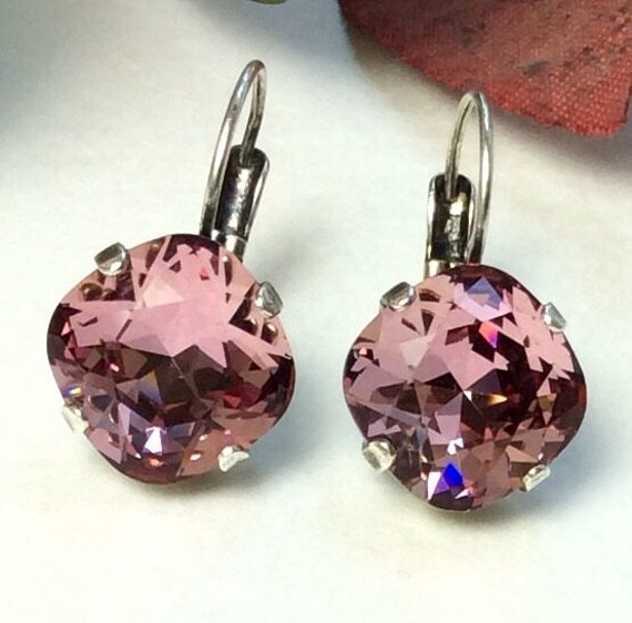 Swarovski Crystal 12MM Cushion Cut, Lever- Back Drop Earrings - Designer Inspired - Antique Pink -  On SALE - FREE SHIPPING