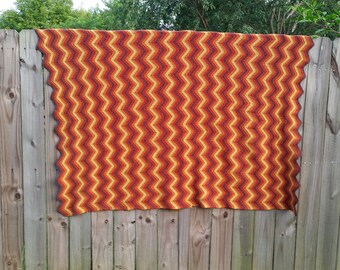 Vintage 70s Brown Cream Burnt Sienna Grey Chevron Striped Handmade Crochet Throw Granny Blanket