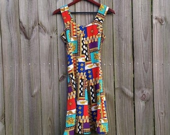 Vintage 80s 90s Bevs Label Graphic Baroque Scarf Print Wide Straps Summer Sleeveless Sweetheart Bust Hopster Indie Sundress Dress