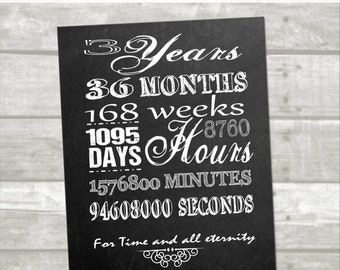 3 year anniversary printable:Digital, instant download, minutes, hours, seconds, days, years, lds
