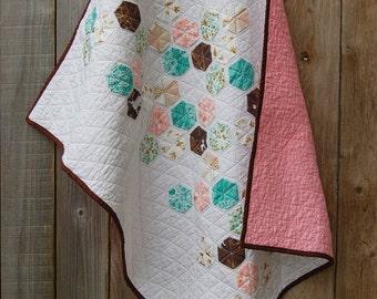 Modern hexagon baby girl quilt