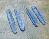 1 pair - Natural Blue Kyanite Slice Paddle beads, top drilled