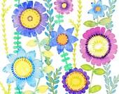 Original Watercolour Card, Wild And Beautiful, Flower Art