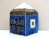 Ceramic Sculpture,  Cobalt Blue House, Blue White Gold House , Small Building , Architecture