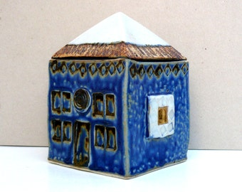 Ceramic Sculpture,  Cobalt Blue House, Blue White Gold House , Small Building , Architecture