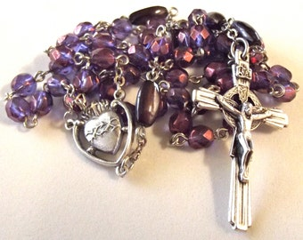 Sacred Heart Rosary In Purple Crystal