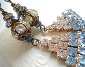 Once Upon A Time CINDERELLA Dangle Earrings, Fairy Tale Princess, Vintage Repurposed Assemblage Blue Rhinestone Recycled Earrings Jewelry