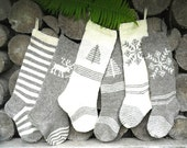 FOR 2016!! Hand knit Christmas Stocking Grey and White with stripes, deer, tree, snowflake ornament Personalized Christmas decoration