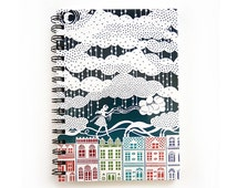 Spiral Notebook - Rooftop Balloons - Lined Pages - A5 notebook