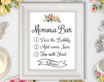 Mimosa Bar Sign // INSTANT DOWNLOAD // Printable // 8x10 // Wedding // Bridal Shower // #PBP91