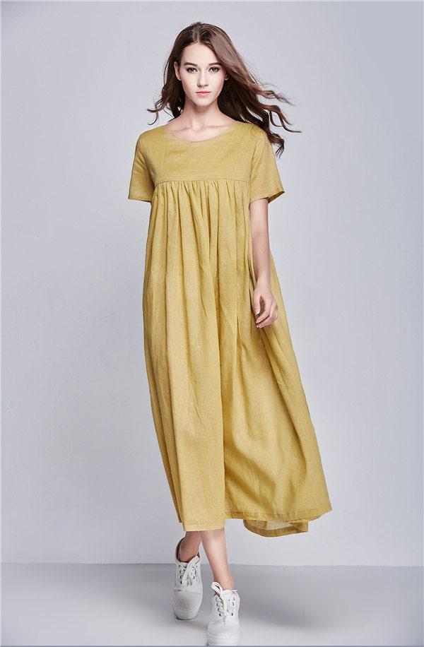 maxi dress linen dress loose fitting linen dress Summer - photo #24