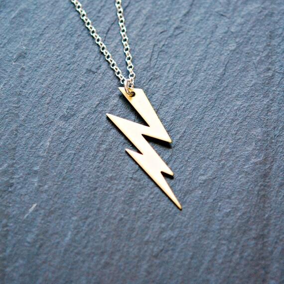 Lightning Bolt Necklace Gold Thunder Bolt Pendant Brass