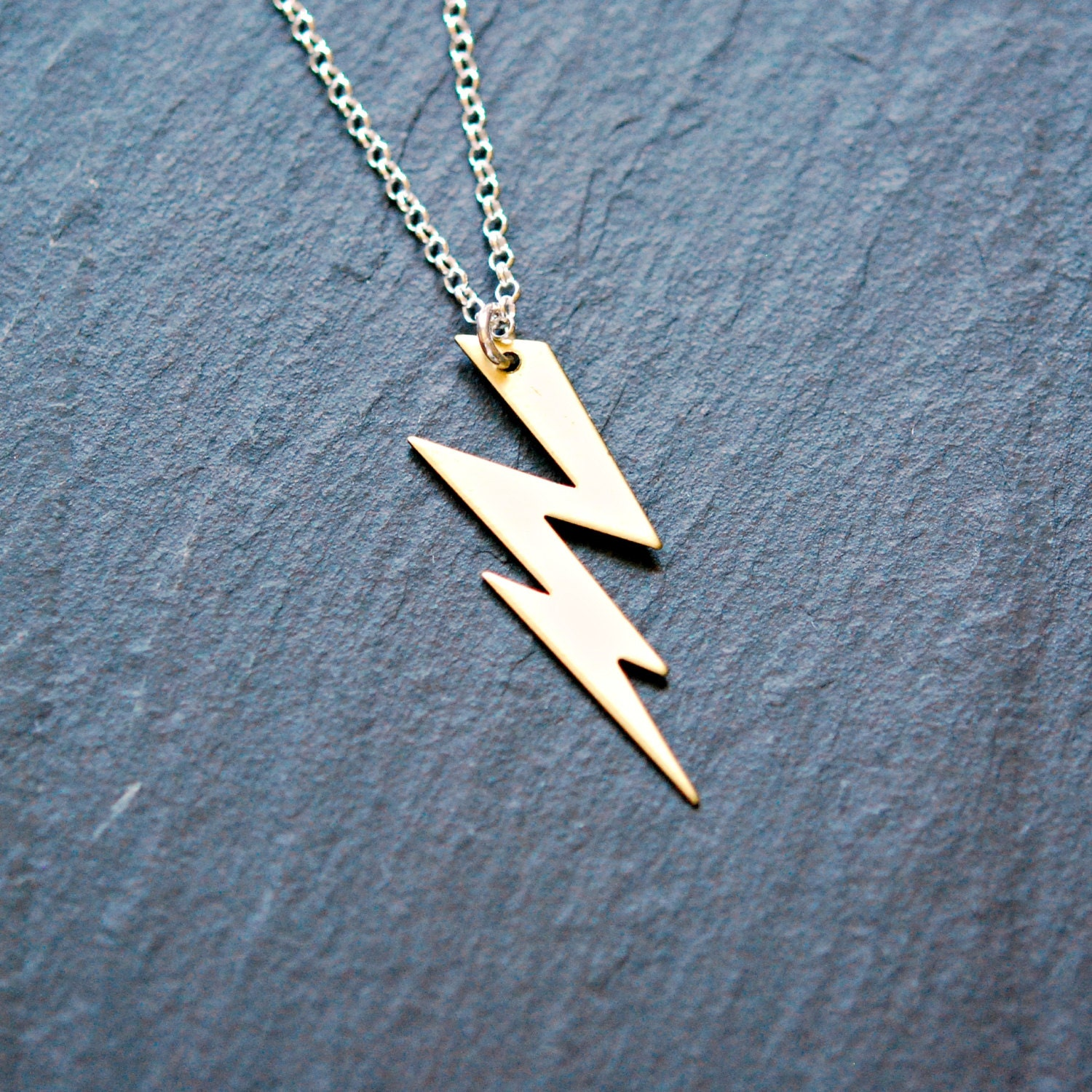 lightning bolt necklace gold thunder bolt pendant brass