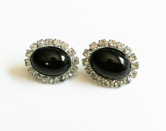 Rhinestone Earrings Black Oval Shaped Pierced Posts, Faux Onyx Black and Silver, Vintage Costume Jewelry