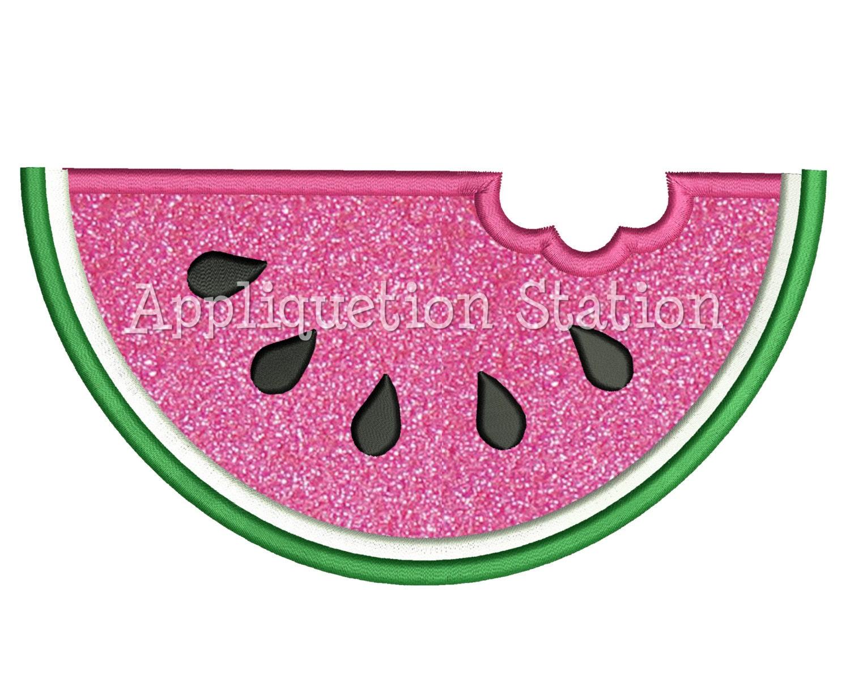 Watermelon applique machine embroidery design girl summer
