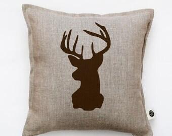 Deer head pillow cover - gray linen - decorative cushion covers -  brown deer head - brown deer print   0285