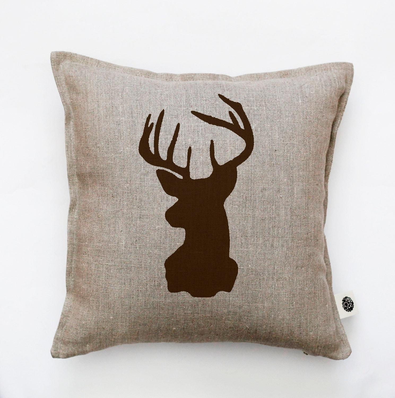 Deer Head Pillow Cover Throw Pillow Gray Linen Pillow