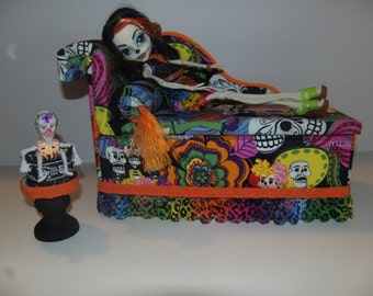 Furniture for Monster High Dolls Handmade Day of the Dead Chaise Lounge Bed for Skelita and able with Sugar Skull Skeleton Lamp