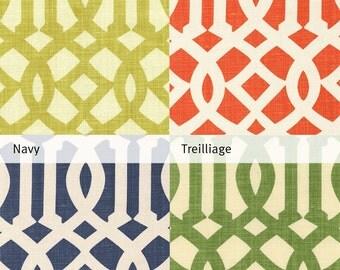 Imperial Trellis Decorative Pillow Cover by Kelly Wearstler in Citrine, Mandarin, Navy & Treillage Green Throw Pillow - Accent Pillow Sham