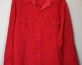 vintage woolrich shirt men's size L red wool nylon blend