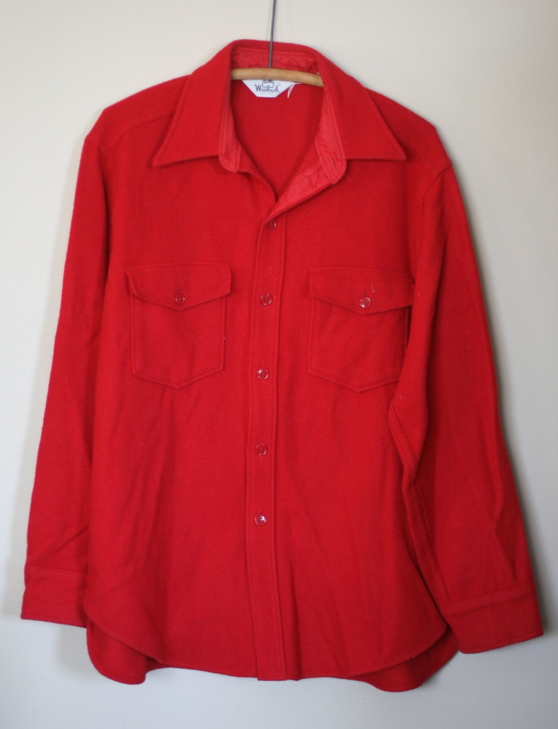Vintage woolrich shirt men 39 s size l red wool nylon blend for Mens red wool shirt