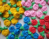 Mini royal icing rosettes -- Cake decorations cupcake toppers edible (48 pieces)