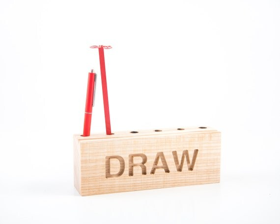 Desk organizer for pencils, brushes and pens DRAW // Simple and stylish looking pencil holder // Perfect gift for an artist // FREE SHIPPING