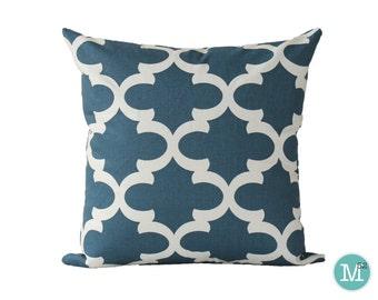 Cadet Dark Blue Moroccan Quatrefoil Lattice Pillow Cover Sham - 20 x 20 and More Sizes - Zipper Closure