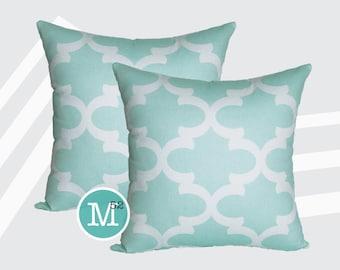 Mint Green Moroccan Quatrefoil Lattice Pillow Covers Shams - 18 x 18, 20 x 20 and More Sizes - Zipper Closure- dc1820