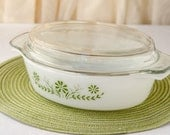 Vintage Milk Glass Green Flower Baking dish with Lid - Oblong