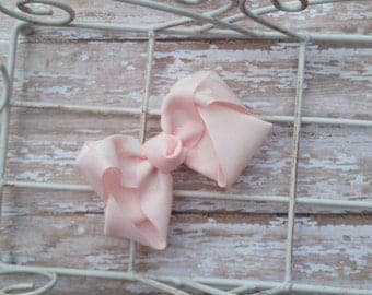 Baby Girl Hairbow, Polka Dot Bow, Light Pink Bow, Girls Bow