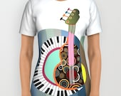 Music T Shirt, Printed T Shirt, Designer T Shirt For Women, T Shirt Men, Music Clothing,  Womens Tees, Mens Tees, Yellow, Blue, Colourful