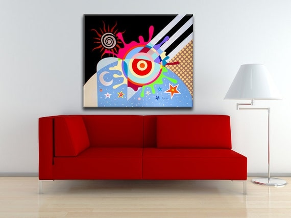 "Original Abstract Art, Large Wall Art Canvas, Large Abstract Painting, Stars And Moon, Colourful Wall Art, Cubism Painting - 32"" X 38"""