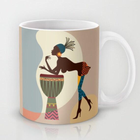 African Woman Unique Coffee Mug Afro Ceramic Mug Afro Tea