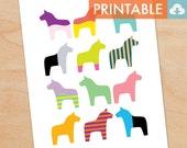 Swedish Dala Horses Waldorf Montessori Printable - DIY Print 8x10 and 11x14 sizes