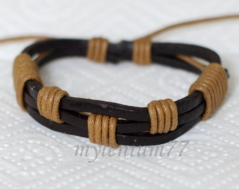 571 Men's brown leather bracelet Leather bands bracelet Cotton ropes bracelet Wrapped bracelet Fashion jewelry Birthday gift For men & women
