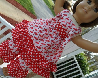 READY TO SHIP! Double ruffled pants and knot top for 18 inch dolls